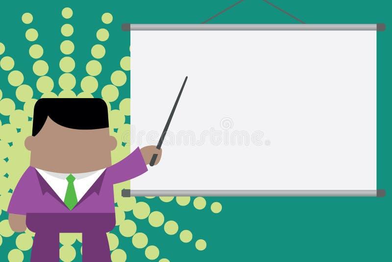 Orador que d? o treinamento profissional Posi??o executiva do homem na tela dianteira do projetor Homem de neg?cios que aponta o  ilustração stock