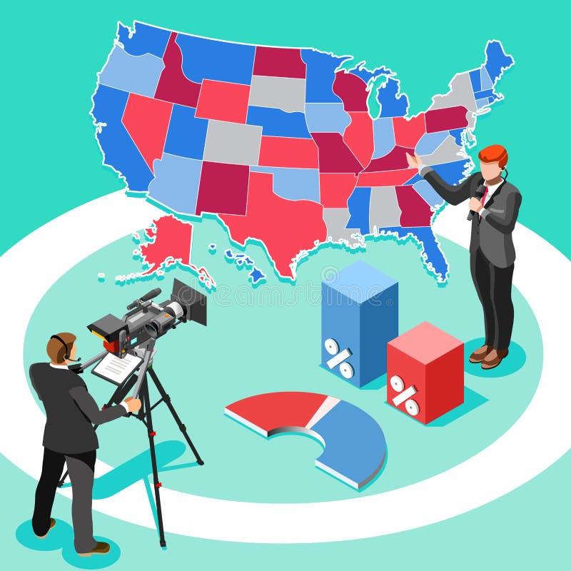 Orador Vetora Isometric People de Infographic da notícia da eleição ilustração do vetor