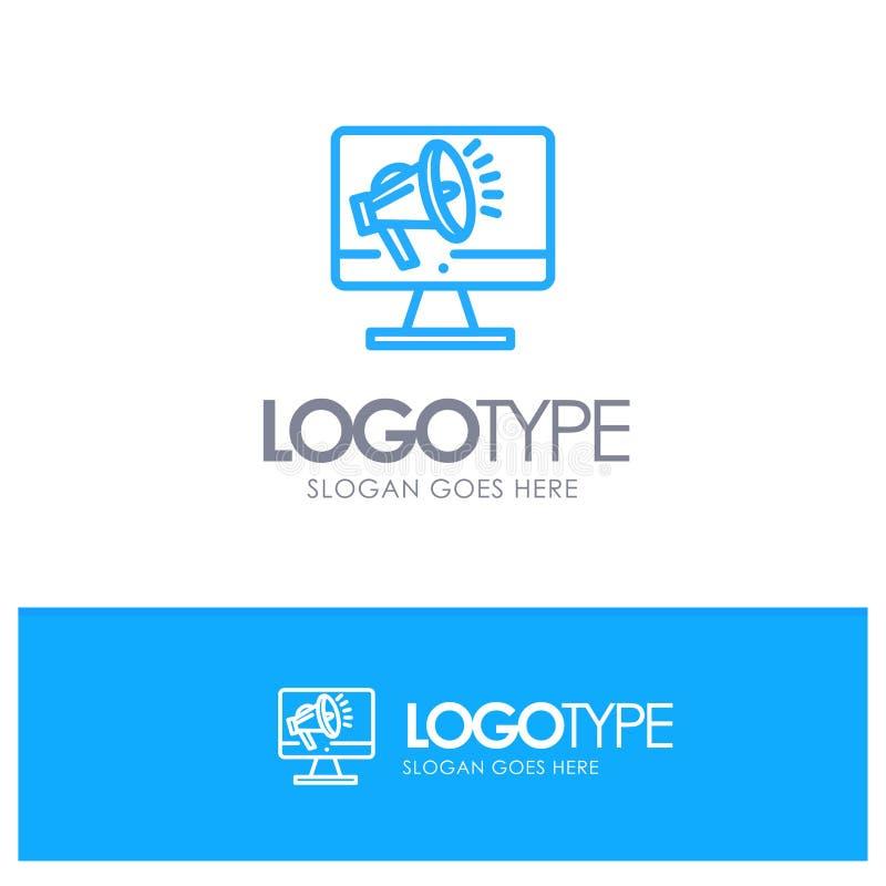 Orador, volume alto, altifalante, orador, logotipo azul do esboço da voz com lugar para o tagline ilustração stock