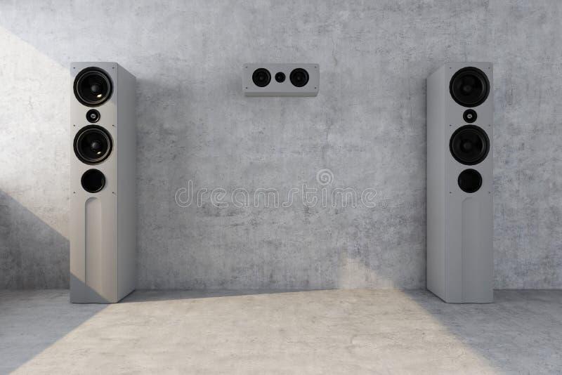 Oradores acústicos perto do muro de cimento foto de stock
