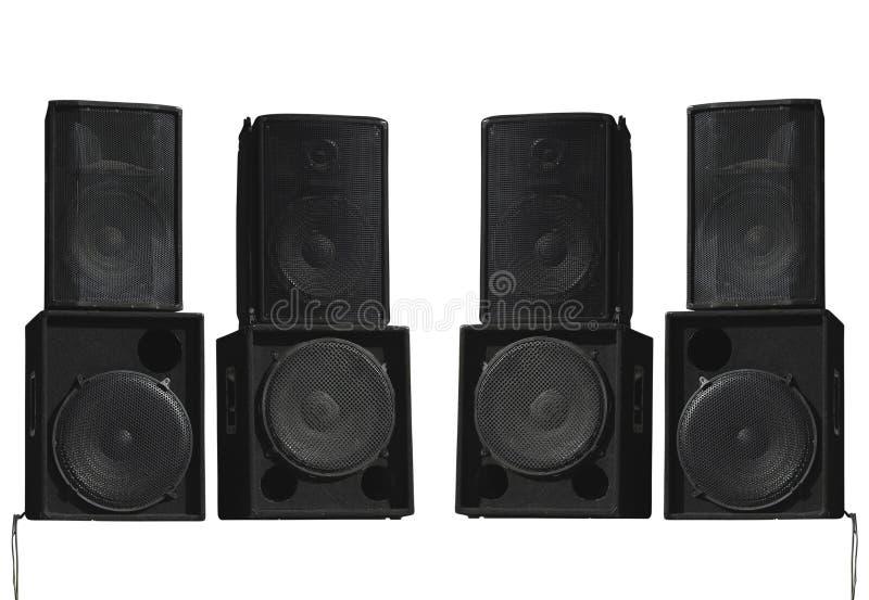 Oradores audio do concerto poderoso velho da fase isolados no branco fotografia de stock royalty free