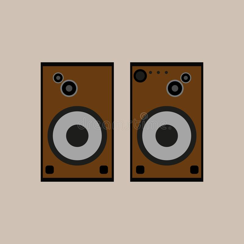 Oradores da música de Brown Objetos isolados Ilustração do vetor ilustração stock