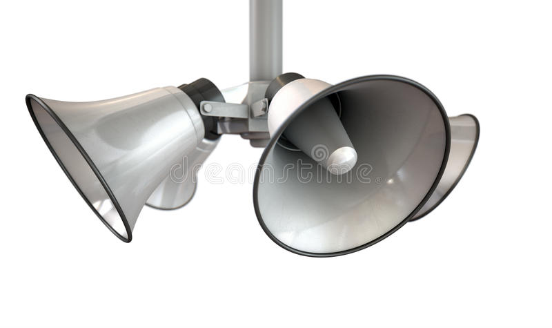 Oradores do chifre que penduram a vista foto de stock