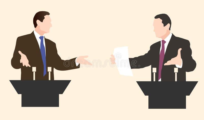 Oradores do debate dois Debates políticos dos discursos ilustração stock