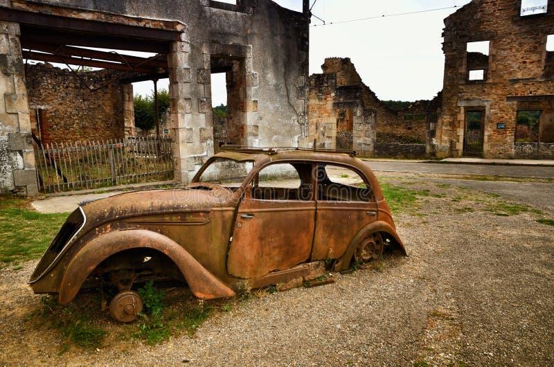 Oradour-Sr-Glane destroied von der deutschen Nazi und ist jetzt ein dauerhaftes Denkmal stockbilder
