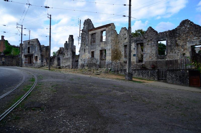 Oradour-Sur-Glane, stad in tweede wereldoorlog, Frankrijk wordt vernietigd dat stock foto's