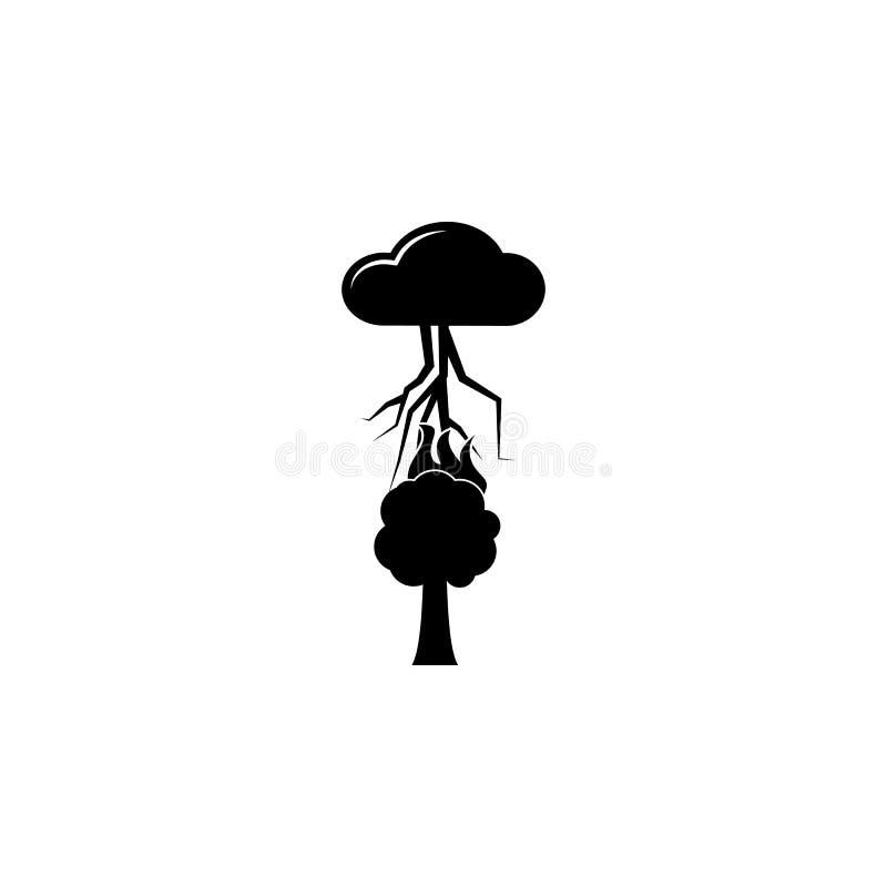 orage au-dessus d'une icône d'arbre Élément d'icône de temps Conception graphique de qualité de la meilleure qualité Signes et ic illustration stock