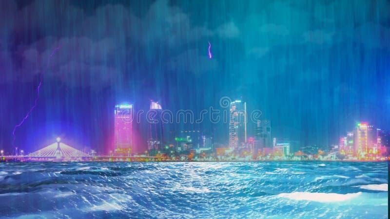 Orage avec la pluie et la foudre dans la ville de nuit photo libre de droits