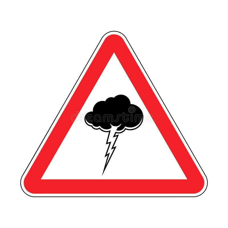 Orage d'attention Panneau routier triangulaire prohibitif rouge Ca illustration stock