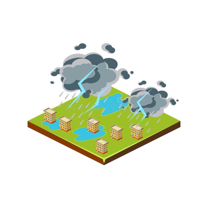Orage Icône de catastrophe naturelle Illustration de vecteur illustration libre de droits