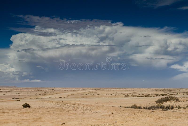 Orage s'approchant au-dessus du désert image stock