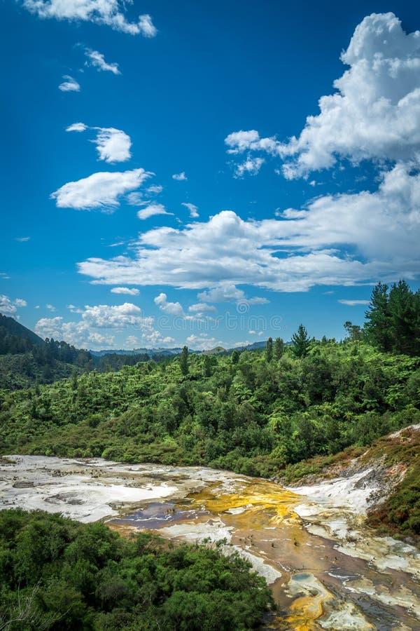 Orakei Korako Geotermiczny park & jama, gejzery w Nowa Zelandia obrazy royalty free