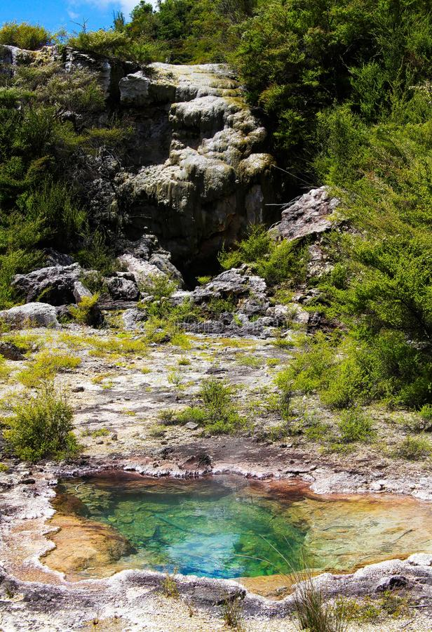 Close up of colorful rainbow sinter terrace covered with yellow and white microbial mats and steaming hot pools stock photography
