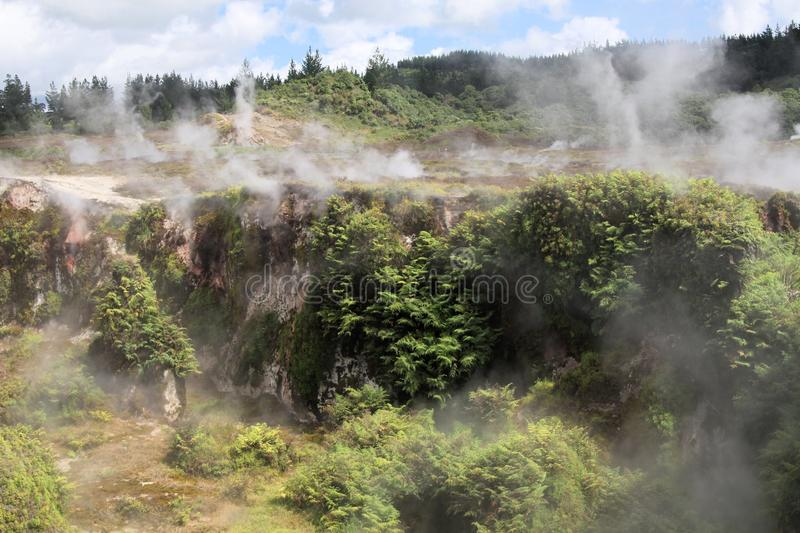 Orakei Korako hidden geothermal valley: View on steaming hills Fumaroles. In valley stock images