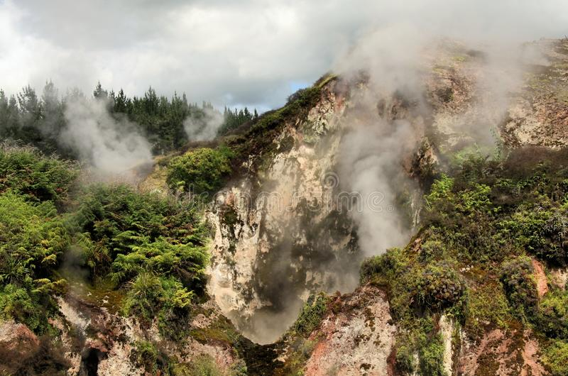 Orakei Korako hidden geothermal valley: View on steaming rocks Fumaroles. On mountain face stock photo
