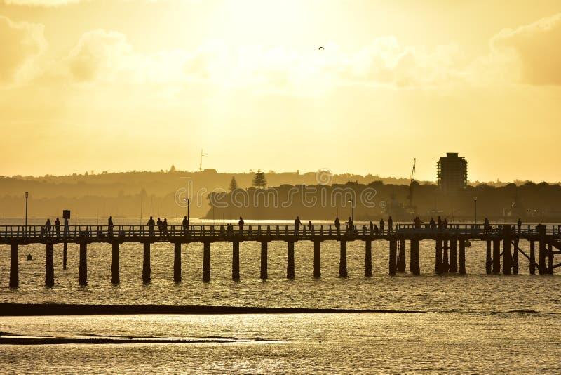 Orakei wharf silhouette stock images
