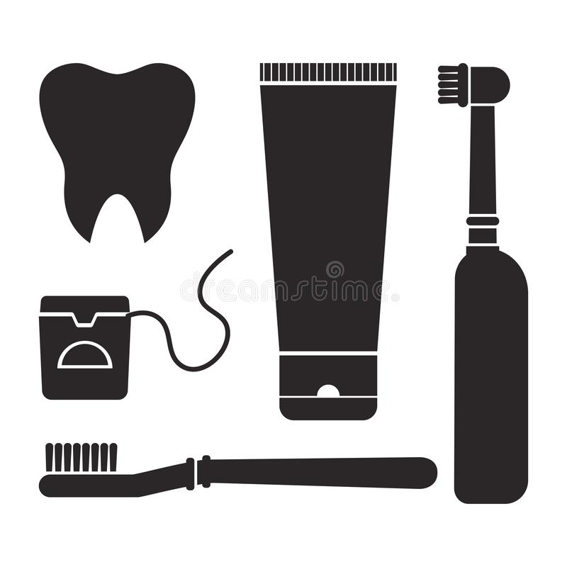 Oral care and hygiene, brushing teeth. Set of dental cleaning tools. Tooth, toothbrush, electric toothbrush, toothpaste and dental vector illustration