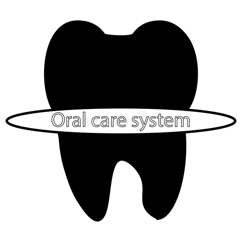 The oral care system. Tooth icon. Black stock illustration