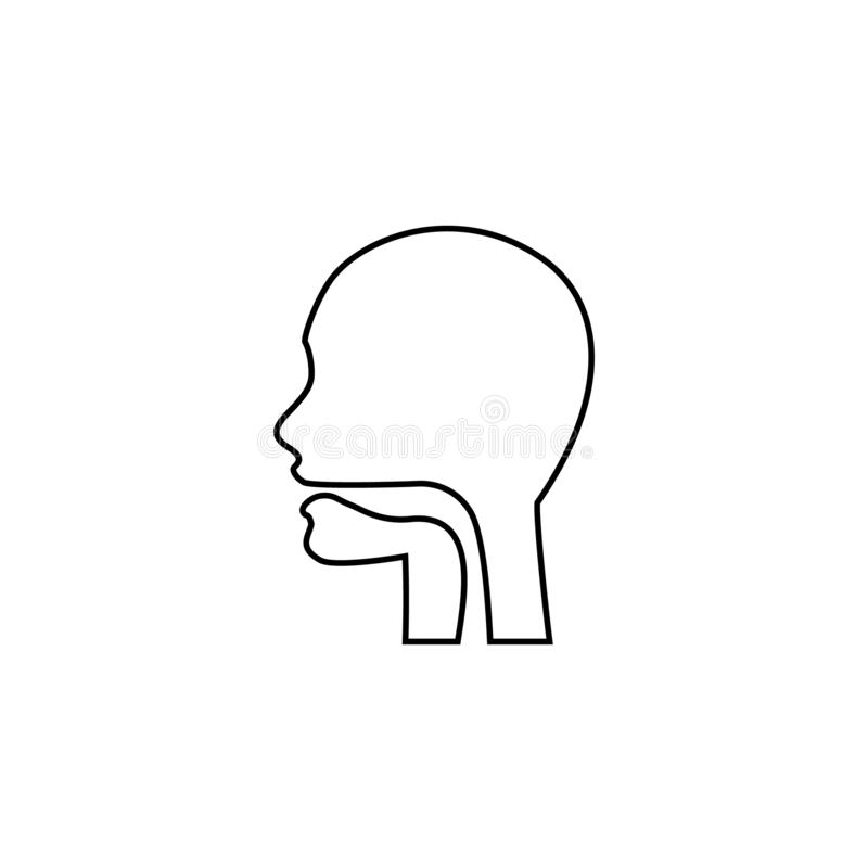 Oral cavity, pharynx and esophagus glyph icon. Upper section of alimentary canal. Silhouette line symbol. Negative space royalty free illustration