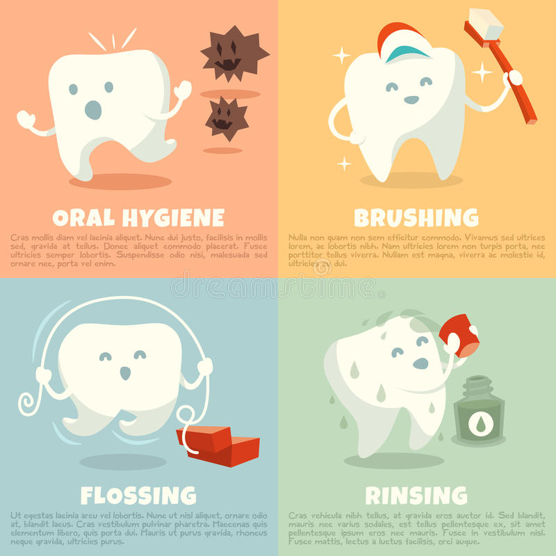 Oral hygiene banners with cute tooth. Brushing, flossing and rinsing. Vector illustration stock illustration