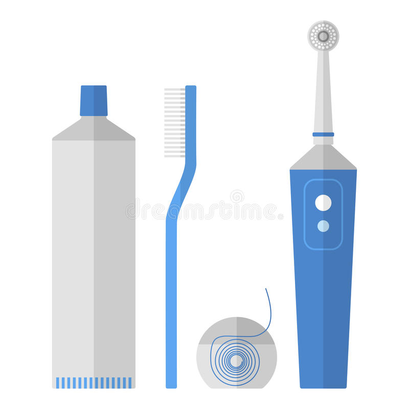 Oral hygiene. Set of toothbrush, dental floss, toothpaste, flat icons vector illustration