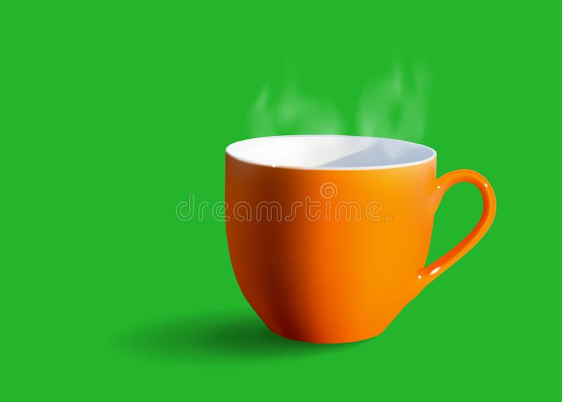 Orane咖啡与白色烟的在绿色背景 向量例证