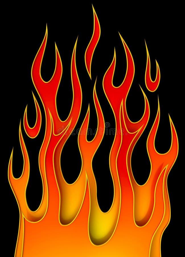 Oranfe Flamme auf Schwarzem vektor abbildung