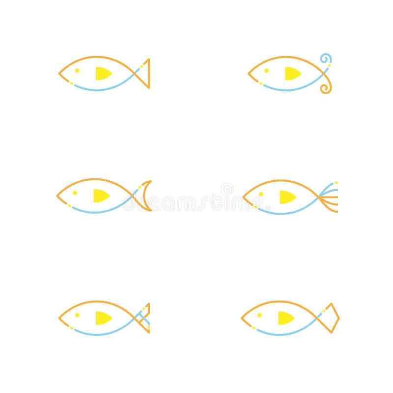 Orang иллюстрации дизайна штрихового пунктира хода плана значка рыб установленное иллюстрация вектора