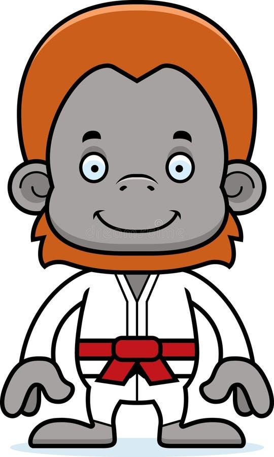 Orang-outan de sourire de karaté de bande dessinée illustration libre de droits