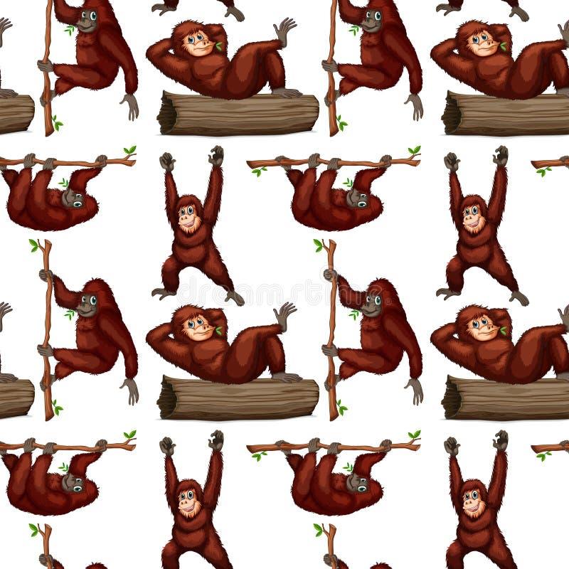 Orang-outan sans couture illustration libre de droits