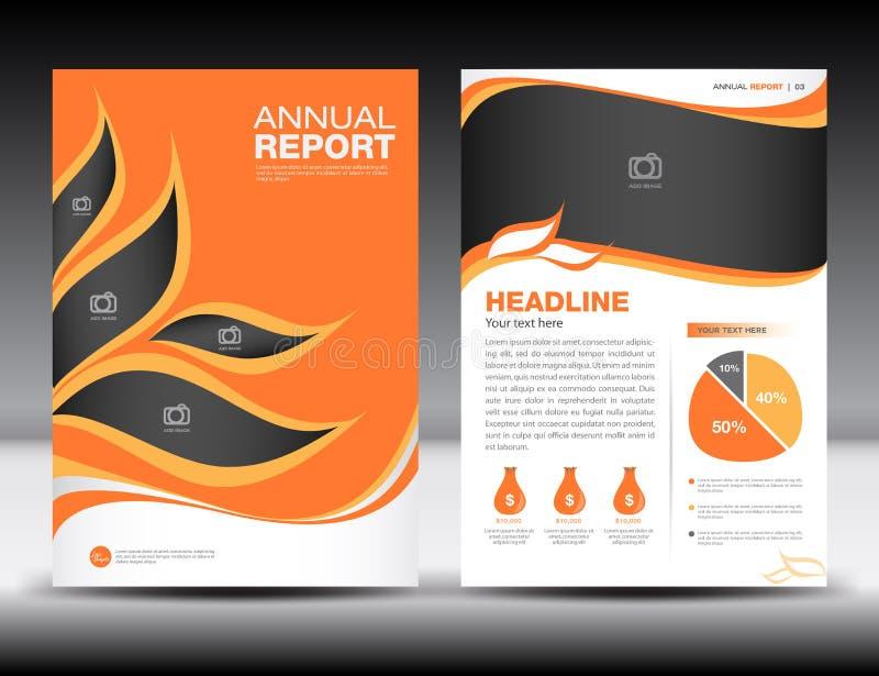 Orange årsrapportmall, räkningsdesign, broschyrfl-yer, information royaltyfri illustrationer