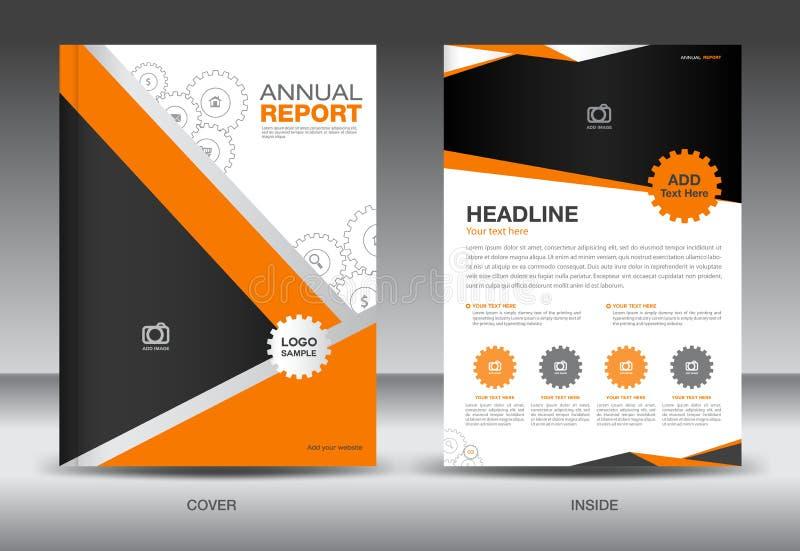 Orange årsrapportmall, räkningsmall, broschyrfl-yer, inf royaltyfri illustrationer