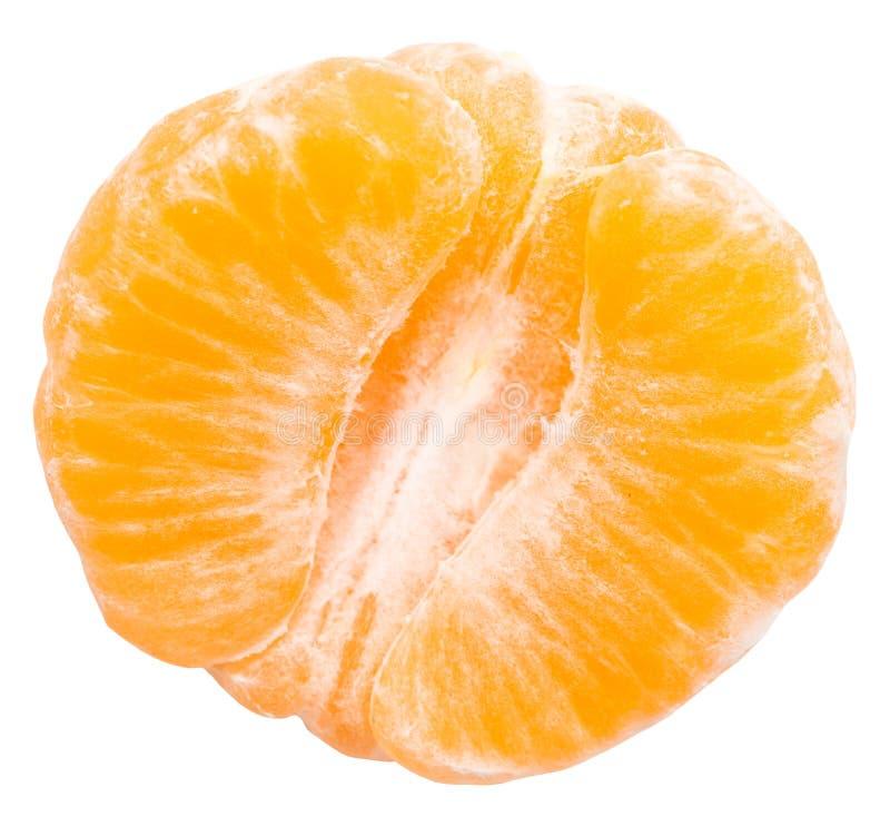 Orange épluchée par moitié photographie stock