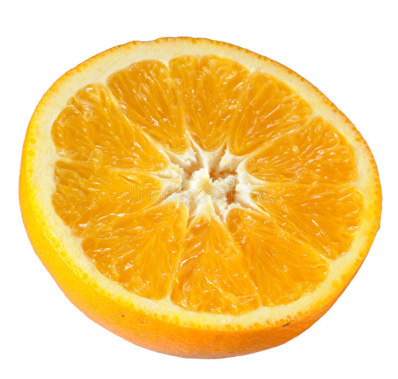 Orange. Half cut orange on white background