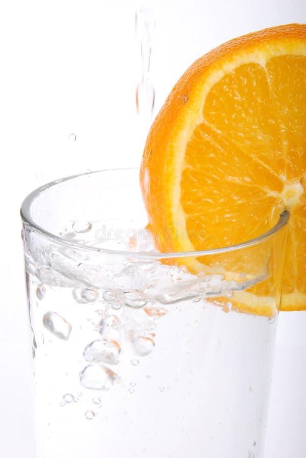 Orange. Juicy Orange slices on white background royalty free stock photos