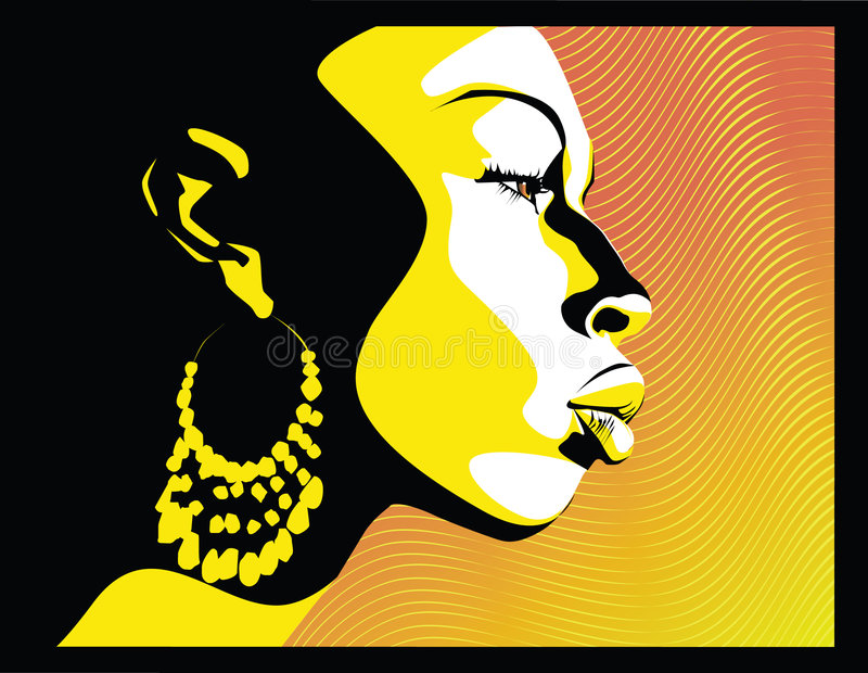 Orange. Vector illustration (eps8) African woman profile
