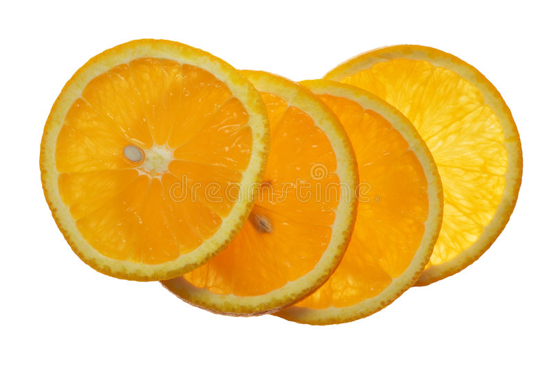 Orange. Four piece orange on the white background royalty free stock photos