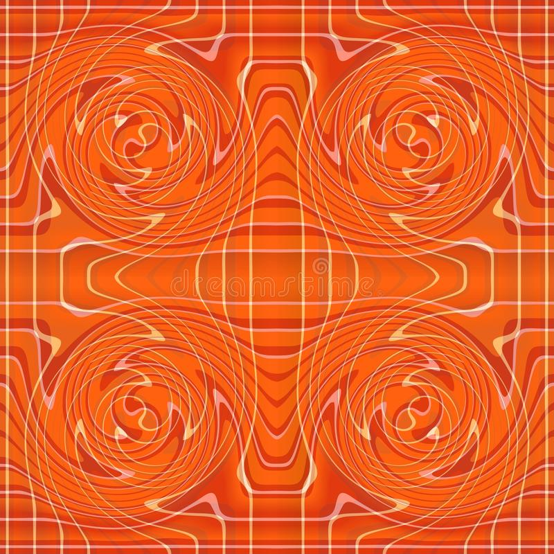 Orange abstract background tile with curved elements. Symmetric royalty free illustration