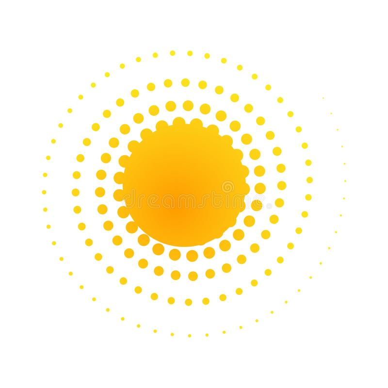 Orange abstract banner Element for design in the form of the sun with dotted spiral rays halftone dots Decorative isolated symbol stock illustration