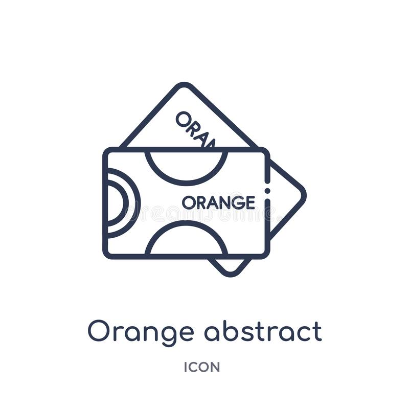 orange abstract business card icon from other outline collection. Thin line orange abstract business card icon isolated on white vector illustration
