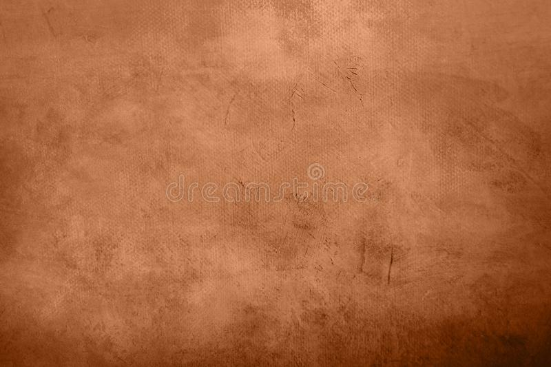 Orange abstract canvas background or texture. Brown reddish grungy canvas background or texture stock images