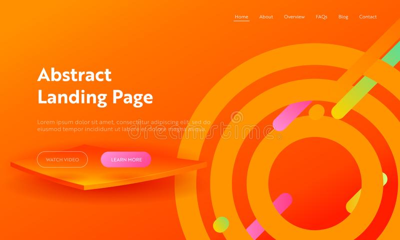 Orange Abstract Circle Shape Composition Landing Page Background. Geometric Digital Aim Motion Gradient Pattern stock illustration