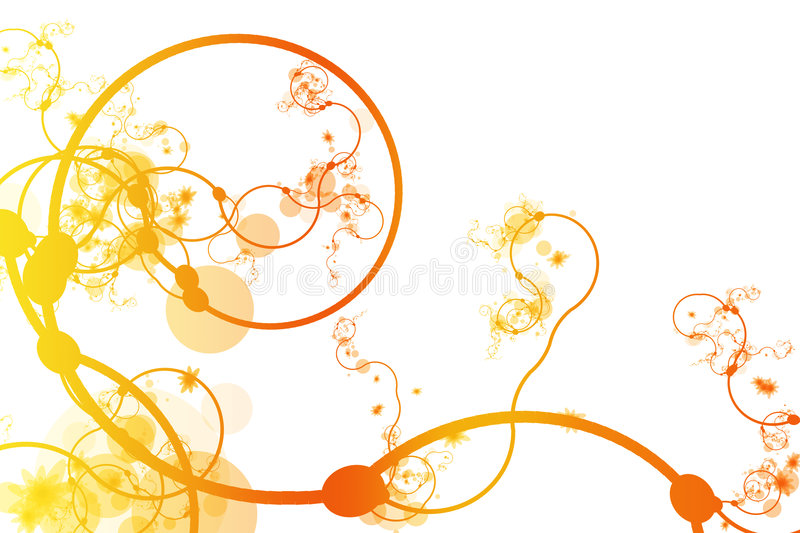 Orange Abstract Curving Line Vines Stock Photography