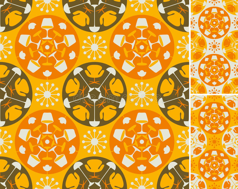 Orange abstract furniture background. Seamless background in three color combinations. Easy to use, just click on the swatches to fill your shapes with the royalty free illustration