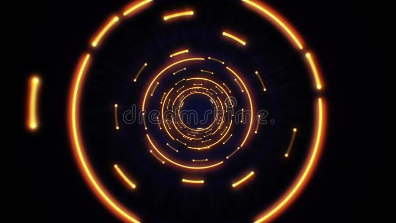 Orange abstract light circles seamless looping. Animation of an abstract background tunnel loop with shiny light circles. Futuristic illumination neon space stock illustration