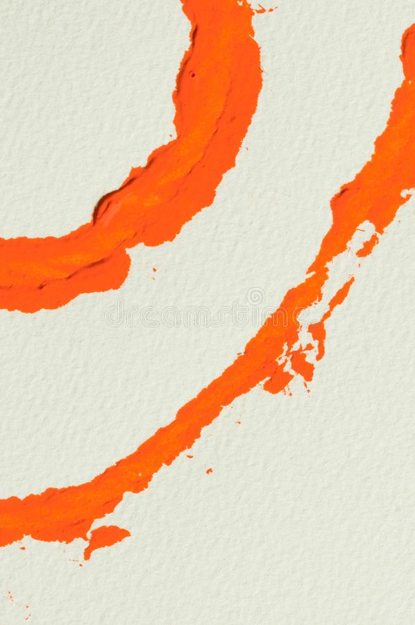 Orange gouache color, image detail. Orange abstract painting, gouache watercolor paint on white, image detail royalty free stock images