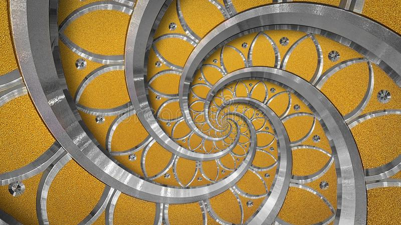 Orange abstract round spiral background pattern fractal. Silver metal spiral orange decorative ornament element. Metal texture. Repetitive flower background royalty free stock photos