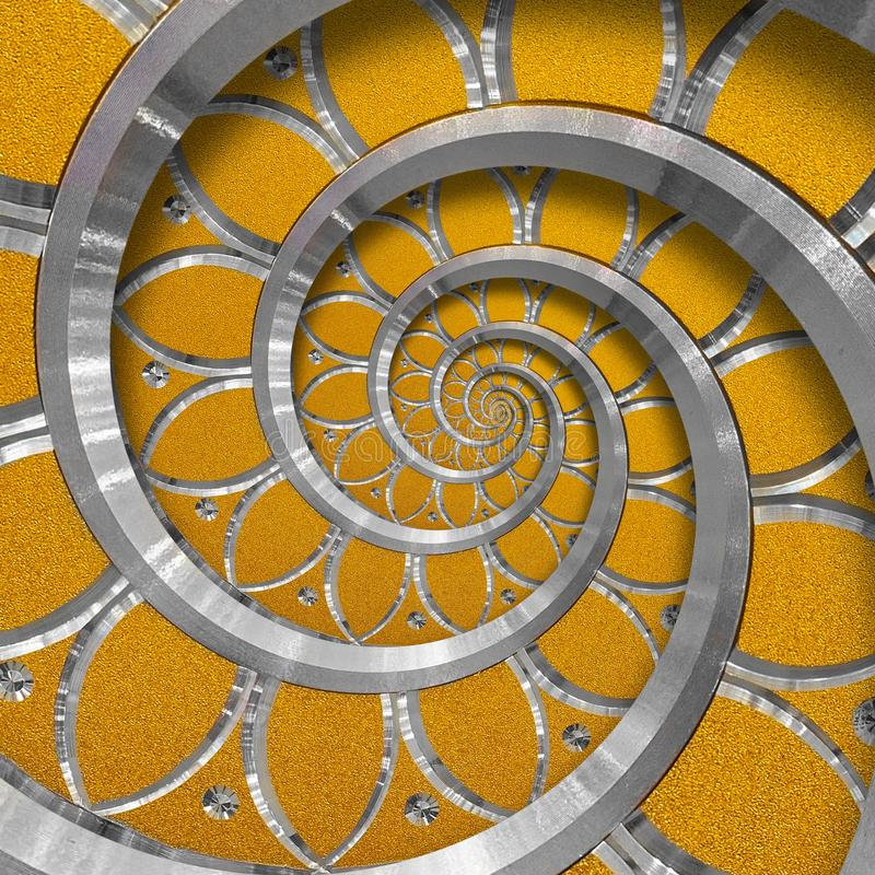 Orange abstract round spiral background pattern fractal. Silver metal spiral orange decorative ornament element. Metal texture. Repetitive flower background stock photography