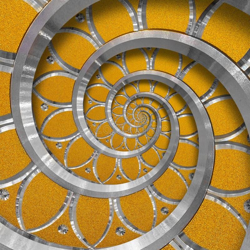 Orange abstract round spiral background pattern fractal. Silver metal spiral orange decorative ornament element. Metal texture stock photography