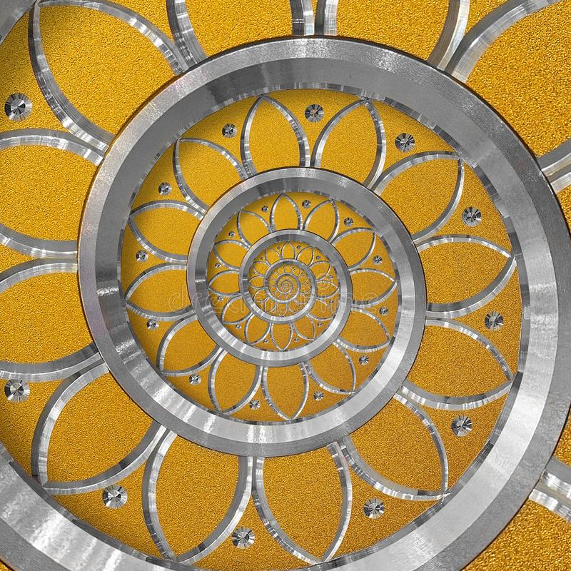Orange abstract round spiral background pattern fractal. Silver metal spiral orange decorative ornament element. Metal texture royalty free stock images